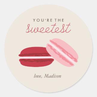 甘いマカロンのバレンタインデー ラウンドシール