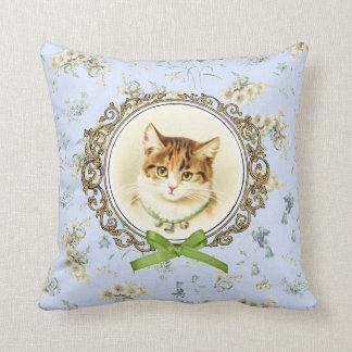 甘いヴィンテージ猫のポートレート クッション