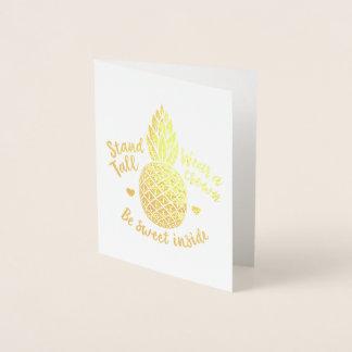 甘い中のパイナップル金ゴールドホイルのメッセージカードがあって下さい 箔カード