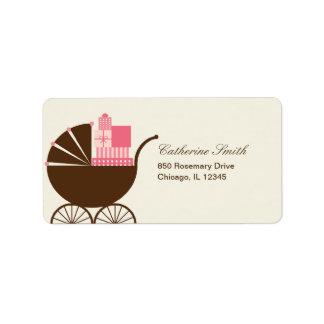 甘い乳母車の宛名ラベル-ピンク ラベル