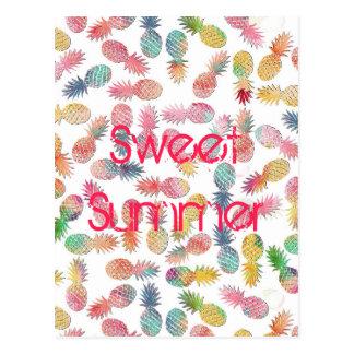 """""""甘い夏""""の水彩画のパイナップルパターンを冷却して下さい ポストカード"""