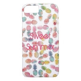 """""""甘い夏""""の水彩画のパイナップルパターンを冷却して下さい iPhone 8/7ケース"""