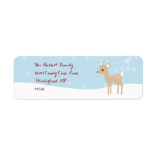 甘い子鹿の冬場面 ラベル