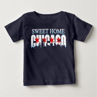 甘い家のシカゴの旗のスカイライン ベビーTシャツ