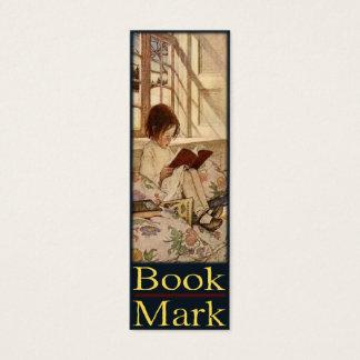 甘い小さな女の子の読書が付いているしおりカード スキニー名刺