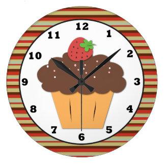 甘い御馳走カップケーキの柱時計 ラージ壁時計