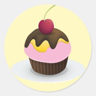 甘い御馳走ステッカー、カップケーキ ラウンドシール