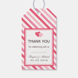 甘い愛ピンクのストライプパターン結婚祝いのラベル ギフトタグ