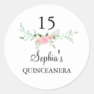 甘い水彩画の花のピンクのキンセアニェラのステッカー ラウンドシール