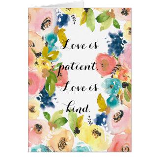 甘い水彩画の花愛は忍耐強いです カード
