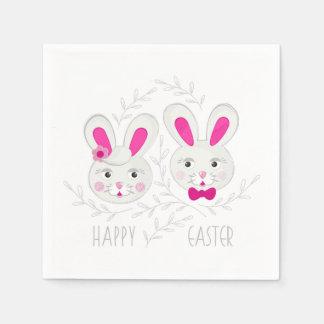 甘い男女のウサギの願いハッピーイースター スタンダードカクテルナプキン