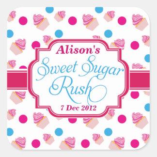 甘い砂糖の突進のかわいいカップケーキの誕生日のステッカー スクエアシール