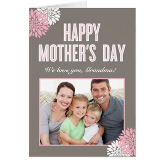 甘い花模様の母の日の写真カード カード