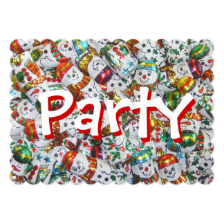 甘い雪だるまのパーティの招待状の赤の背部 カード