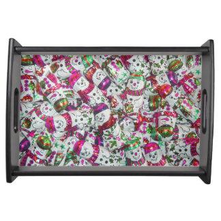 甘い雪だるまのピンクのサービングの皿 トレー