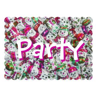 甘い雪だるまのピンクのパーティの招待状 カード