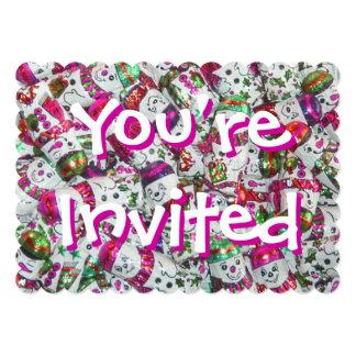 甘い雪だるまのピンクの招待されましたの招待 カード