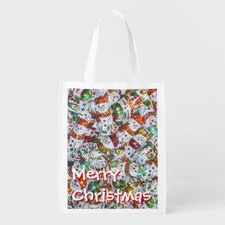 甘い雪だるまのメリークリスマスのエコバッグ エコバッグ