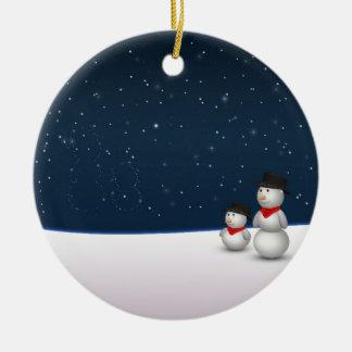 甘い雪だるまの星座-オーナメント 陶器製丸型オーナメント