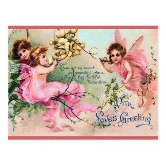 甘くビクトリアンな妖精のバレンタインの郵便はがき ポストカード