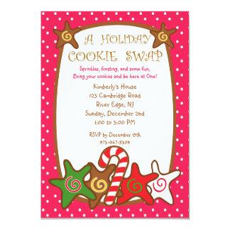 甘く及びカラフルな休日のクッキーの交換の招待状 カード
