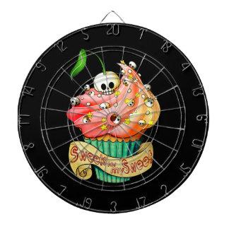 甘く及び致命的なスカルのカップケーキ ダーツボード