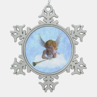甘く可愛らしい天使 スノーフレークピューターオーナメント