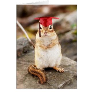 甘く小さいシマリスの卒業生の挨拶状 グリーティングカード