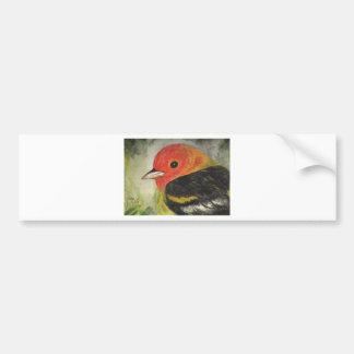 甘く小さい鳥の水彩画 バンパーステッカー