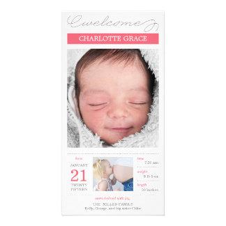 甘く文書化された女の赤ちゃんの誕生の発表 カスタマイズフォトカード