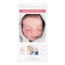 甘く文書化された女の赤ちゃんの誕生の発表 カスタムフォトカード