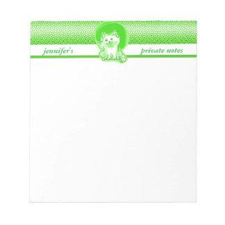 甘く白い猫の着席の漫画のスタイルのイラストレーション ノートパッド