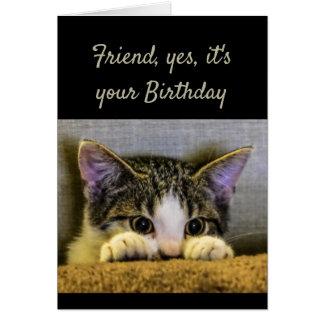 甘く親切な思いやりがある友人の誕生日のかわいい子ネコ カード