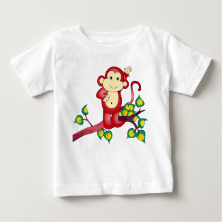 甘く赤い猿の赤ん坊のワイシャツ ベビーTシャツ