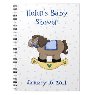甘く青い揺り木馬のベビーシャワーのノート ノートブック