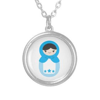 甘く青いMatryoshkaの人形のネックレス シルバープレートネックレス