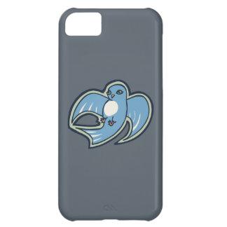 甘く青および白い鳥インクスケッチのデザイン iPhone5Cケース