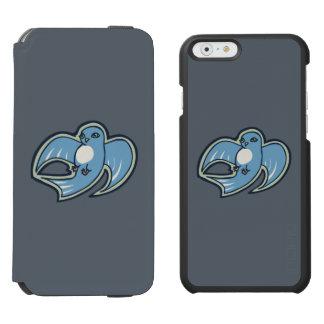 甘く青および白い鳥インクスケッチのデザイン iPhone 6/6Sウォレットケース