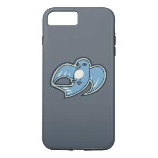 甘く青および白い鳥インクスケッチのデザイン iPhone 8 PLUS/7 PLUSケース