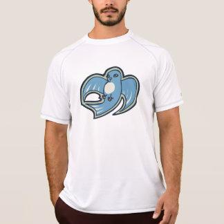 甘く青および白い鳥インクスケッチのデザイン Tシャツ