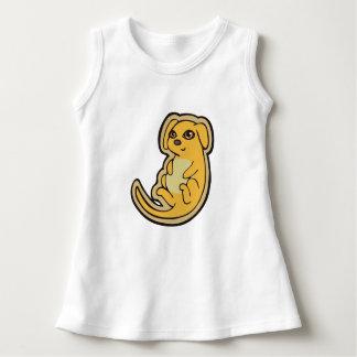 甘く黄色および赤い小犬のスケッチのデザイン ドレス