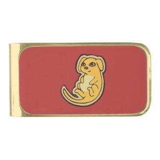 甘く黄色および赤い小犬のスケッチのデザイン 金色 マネークリップ