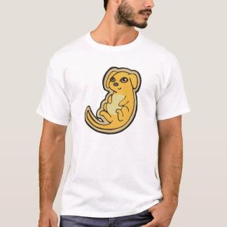甘く黄色および赤い小犬のスケッチのデザイン Tシャツ