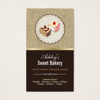 甘味を加えたチョコレートのカップケーキのデザート-ベーカリーの店 名刺