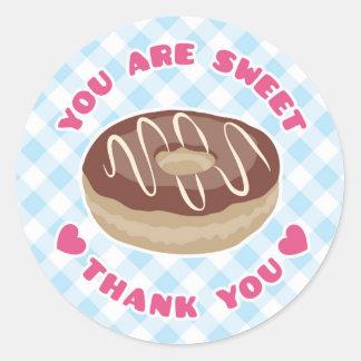 甘味を加えたチョコレートドーナツ感謝していしていますステッカーです 丸形シール・ステッカー