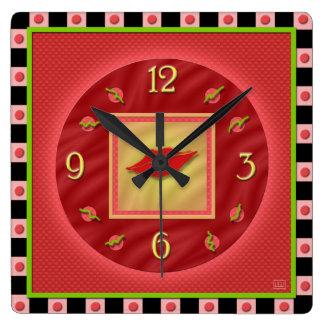 甘美で赤い口紅 スクエア壁時計