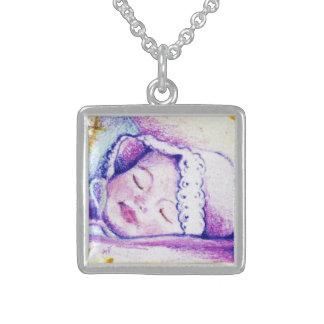 甘美な夢のベビーの正方形の純銀製のネックレス スターリングシルバーネックレス