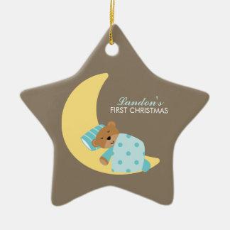 甘美な夢の子守唄の男の子のベビーの初めてのクリスマス セラミックオーナメント