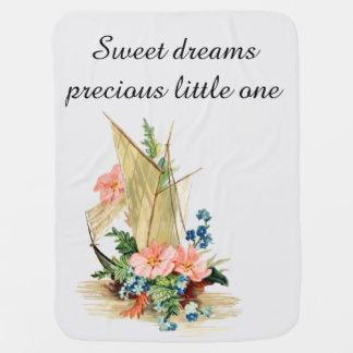 甘美な夢、花で満ちているヴィンテージのヨット ベビー ブランケット