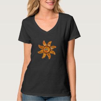 生きた、わかっている、目がさめている放射太陽のemoji単語の芸術 tシャツ